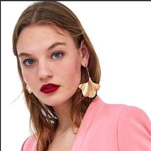Zara Gold Leaf Statement Earrings.